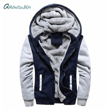 Grandwish Winter parka men plus velvet warm windproof coats mens Large Size hooded jackets casaco masculino men's Jackets,DA878