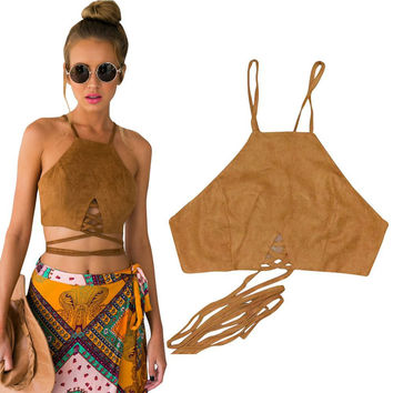 Faux Leather Suede Crop Top 2 Colors