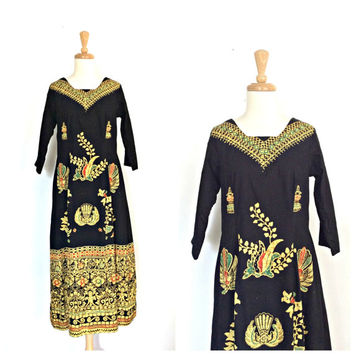 Vintage Boho Dress - hippie dress - indie - midi - black dress - ethnic - Medium