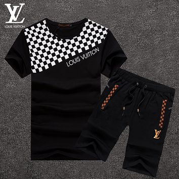 Boys & Men Louis Vuitton Fashion Casual Shirt Top Tee Shorts Set Two-Piece