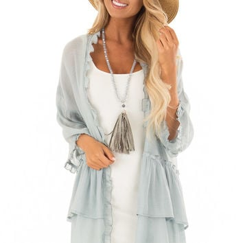 Dusty Blue Cardigan with Ruffle Detail