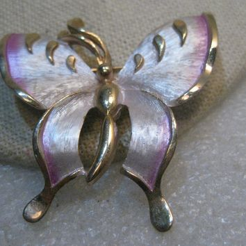"Vintage Two Tone Butterfly Brooch, Pink Enameling, 2"", 1960's"