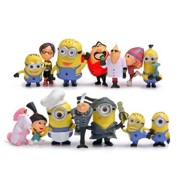 (14pcs/lot) Minion Miniature Figurines Toys Cute Lovely Model Kids Toys 6.7cm PVC Anime Children Figure 170721