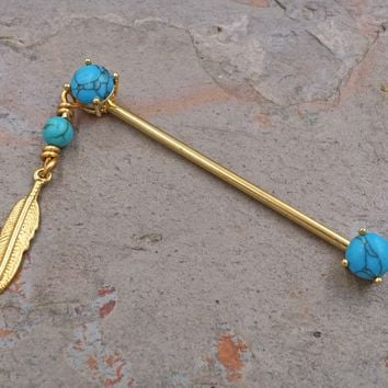 Gold Feather Turquoise Industrial Barbell Scaffold Piercing