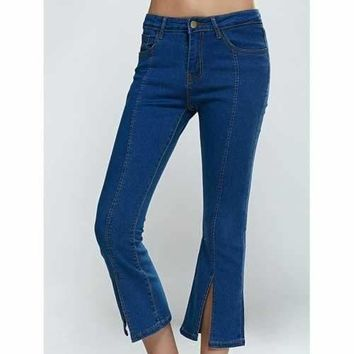 Split Hem Skinny Cropped Flare Jeans - Denim Blue Xl