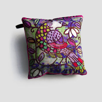 Decorative silk cushion with bird illustration / small comfort pillow