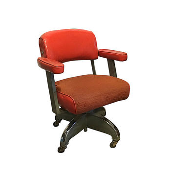 1950s Office Chair, Vintage Orange Leather & Metal Industrial Seating, Retro Mid Century
