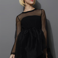 Dreamy Sheer Crepe Panel Dress in Black Black