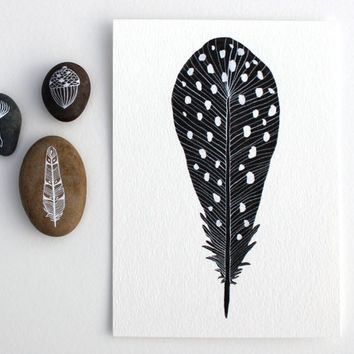 Watercolor Feather Painting - Watercolor Art - Archival Print - 8x10 Spotted Feather