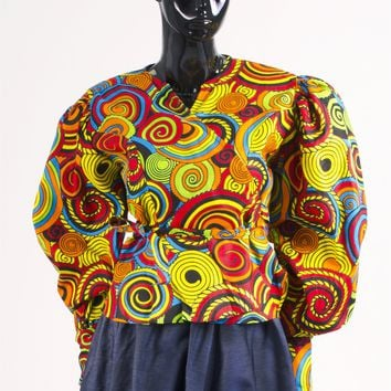 NF 246 Authentic African Print Wrap Top