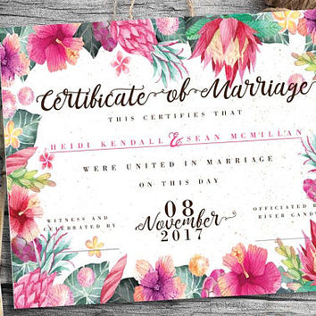PRINTABLE | Digital Custom Marriage Certificate, Tropical Pink Floral Wedding Certificate, Wedding Keepsake, Quaker Marriage Certificate