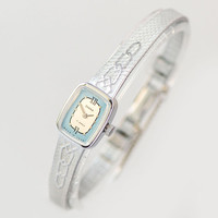 Women's watch bracelet rectangular mint condition, cocktail wrist watch for lady blue face Seagull, small watch for big wrist jewelry gift