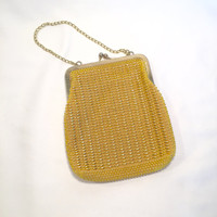 1950's Yellow Beaded Purse with Snap Enclosure