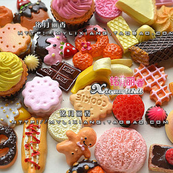 10 pcs Miniature Food Cute Sweets mix Assort Cute Easter DIY Flat Back Kawaii Resin Buttons Scrapbooking Craft Jewelry accessories