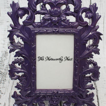 Ornate frame // ornate picture frame// Unique frame // Resin Frame // Purple Frame // bedroom decor // Purple Decor