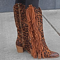The Amanda Leopard Fringe Boot
