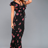Southern Border Black Floral Print Maxi Dress