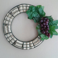 Wine cork wreath with grapes and leaves | home decor | housewarming gift