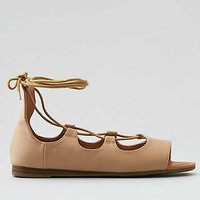 AEO Lace-Up Open Toe Flat, Natural