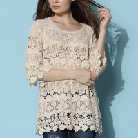 Lovely Affair Crochet Knit Top  White S/M