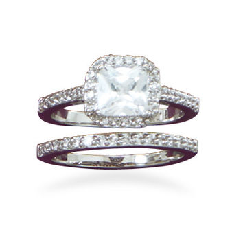Bridal Rhodium Plated Wedding Band Set