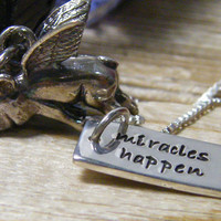 flying pig necklace with hand stamped word tag by PureRoxInPrint