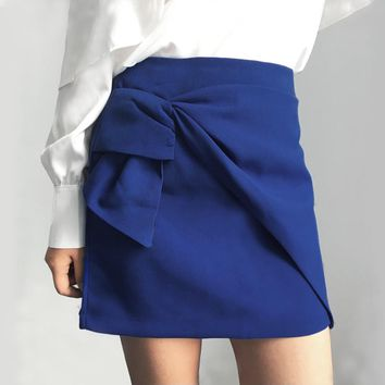 Bow high waist  blue pencil skirt