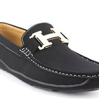 New Men's WH-06 H Gold Buckle Moccasin Slip On Loafers Shoes