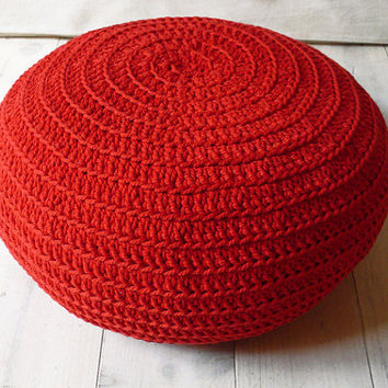 Floor Cushion Crochet  LAST ONE AVAILABLE in red by lacasadecoto