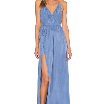 THE JETSET DIARIES Sunset Wrap Dress in Smokey Blue