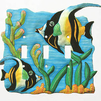 Light Switch Cover - Tropical Fish Design Switch Plate, Hand painted metal light switchplate cover -Recycled steel oil drums - S-1015-3