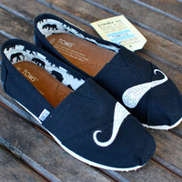 Custom Hand Painted Mustache Black Classic TOMS by BStreetShoes