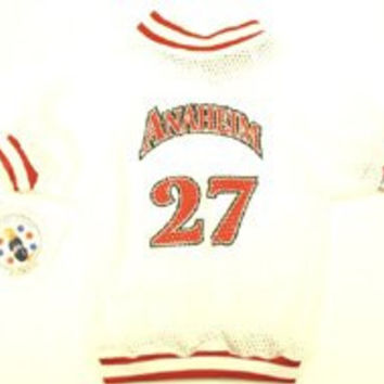 Sports Enthusiast Anaheim Baseball Mesh Dog Jersey (Medium)