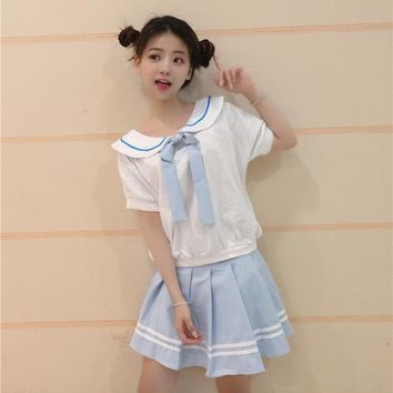 korean Summer kawaii women suit clothes Hit the color harajuku cute Naval collar Crop Top And Skirt Set vadim 2 Piece Set