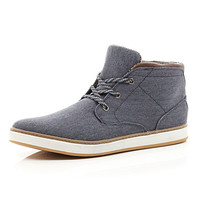 River Island MensNavy canvas lace up mid top boots