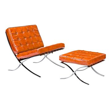 Mies Chair And Ottoman Burnt Orange