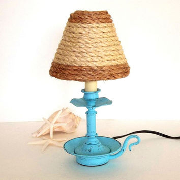 Beach Decor Accent Lamp with sisal rope shade, distressed Turquoise Blue Nautical Light Coastal Lighting, rope lampshade candle lamp,