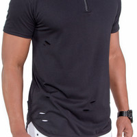 Ripped Long Length Extended Tee with Zipper (Black)