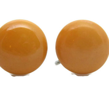 Vintage Cream Corn Bakelite Button Earrings