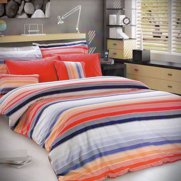 Custom Queen or Full Size Coral Red, Navy Blue, Blue, Salmon, Orange Striped Print Bedding Set
