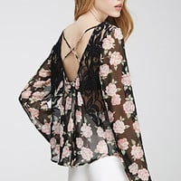 Crisscross Back Rose Print Top