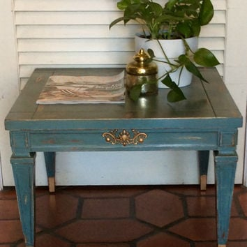 Blue Side Table Vintage 1950s