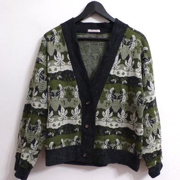 Unisex Green And White Vintage Cardigan Jumper With Autumn Leaves Pattern Ugly Grandpa Jumper