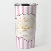 Pale Rose on Stripes Travel Mug by drawingsbylam
