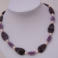 Handmade Purple Jasper and Wire Wrapped Necklace, Gemstone Necklace, Wire Wrapped, Purple Necklace