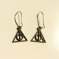Deathly Hallows Earrings, Harry Potter Earrings, Harry Potter Jewelry, Bronze Deathly Hallows Earrings, Bronze Harry Potter Earrings