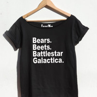 The office TV show t shirt Bears Beets Battlestar Galactica Funny tshirt girls and women loose fit wide neck By FavoriTee