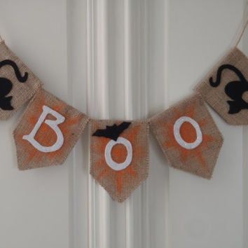 Halloween Boo Banner Burlap and Felt with Natural Wood Hanger Handmade by FeistyFarmersWife