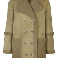 Real Shearling Car Coat - Olive