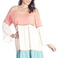 Summer Nosatalgia Off-the-Shoulder Colorblck Dress in Mint/Coral | Sincerely Sweet Boutique